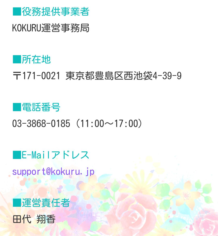 チャットアプリ『 kokuru 』あなたは誰に告白する?の運営会社情報