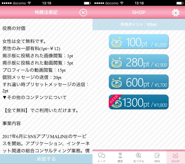 MALINE - 安心安全の出会い・恋活マッチングアプリの料金体系