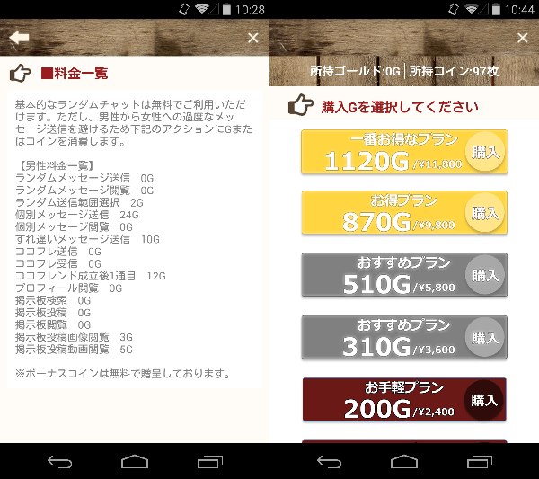 コロネ-グルメ情報交換アプリ!-の料金体系